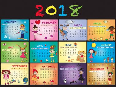 calendar 2018 with children