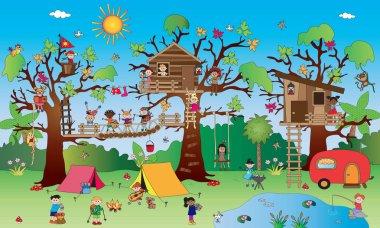 Landsacape with happy children