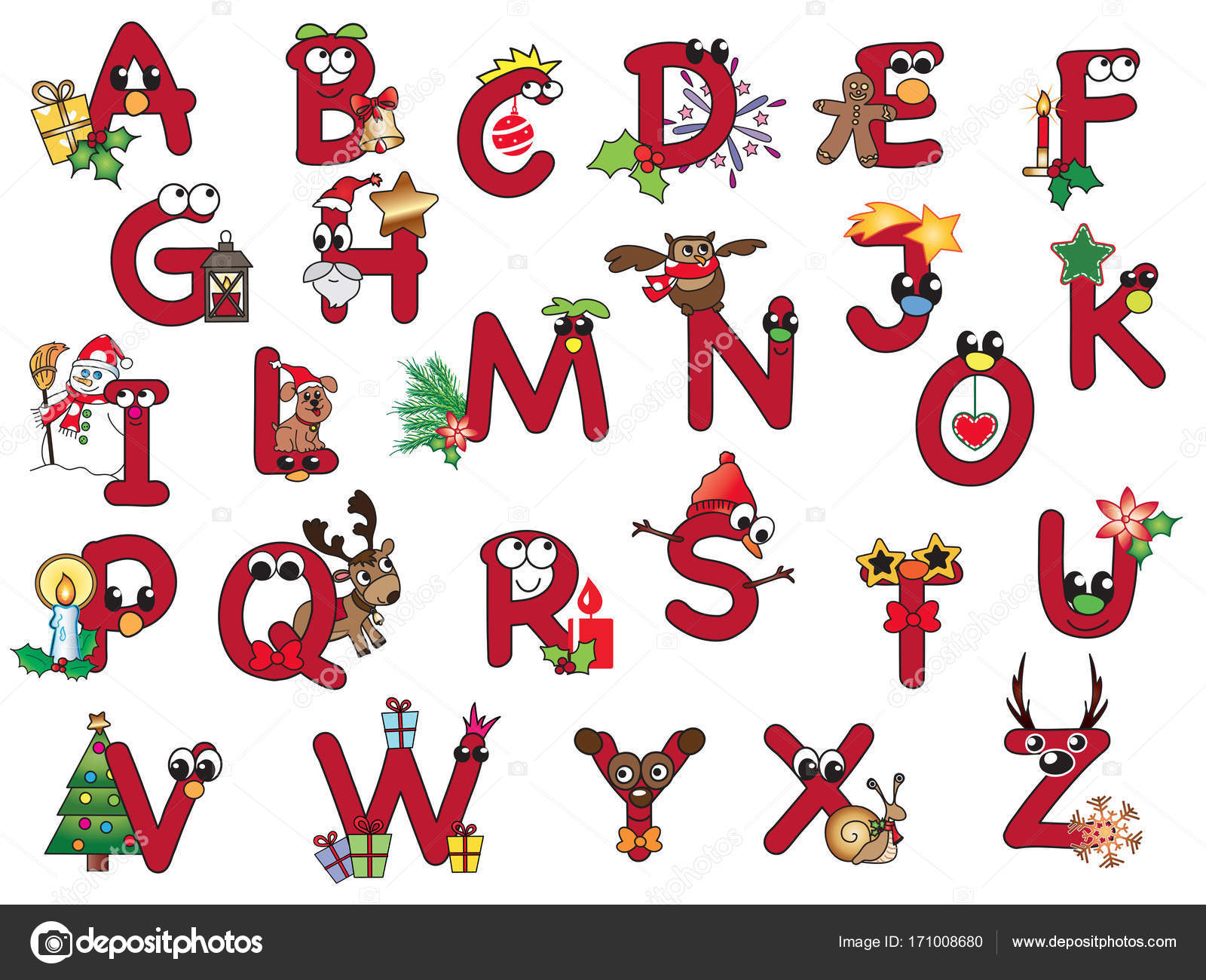 Alphabet Noel alphabet de noël isolé — photographie casaltamoiola © #171008680