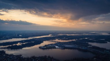 Beautiful panoramic aerial view of the Dnieper River and the North Bridge or Moscow Bridge from the left bank.