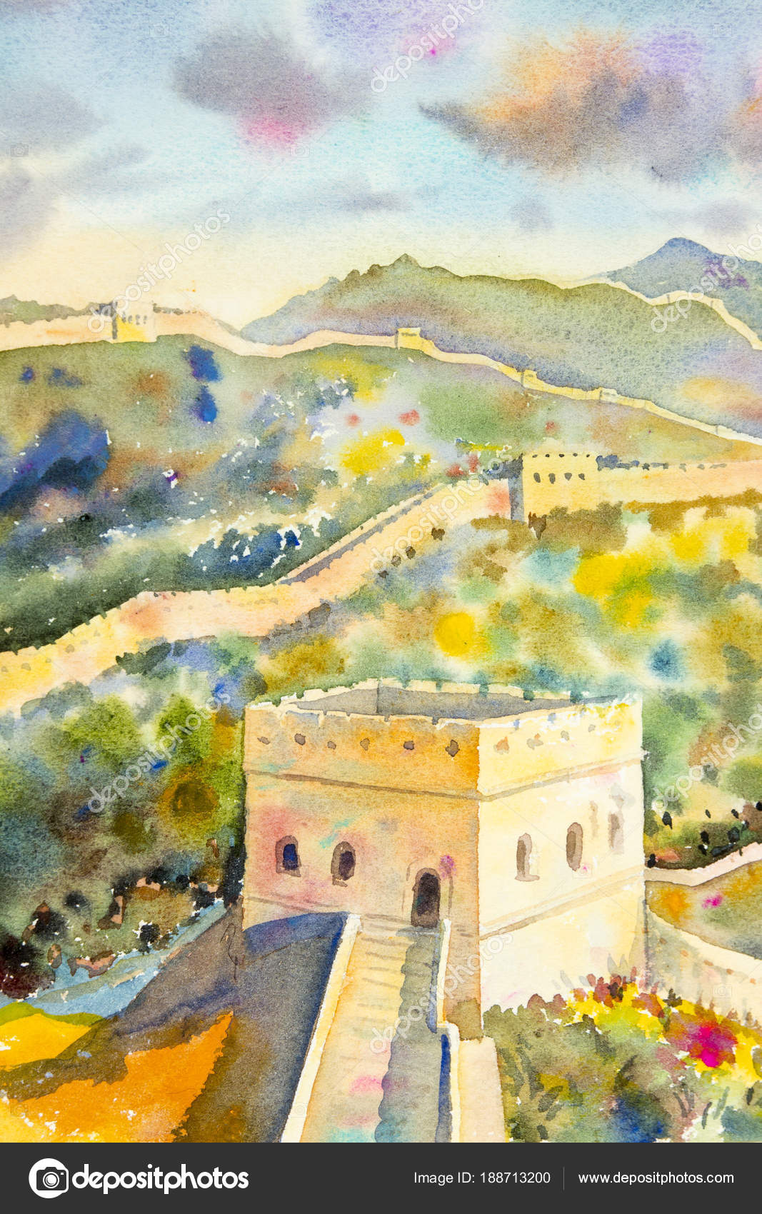 The Great Wall of China at Mutianyu. Watercolor painting — Stock ...