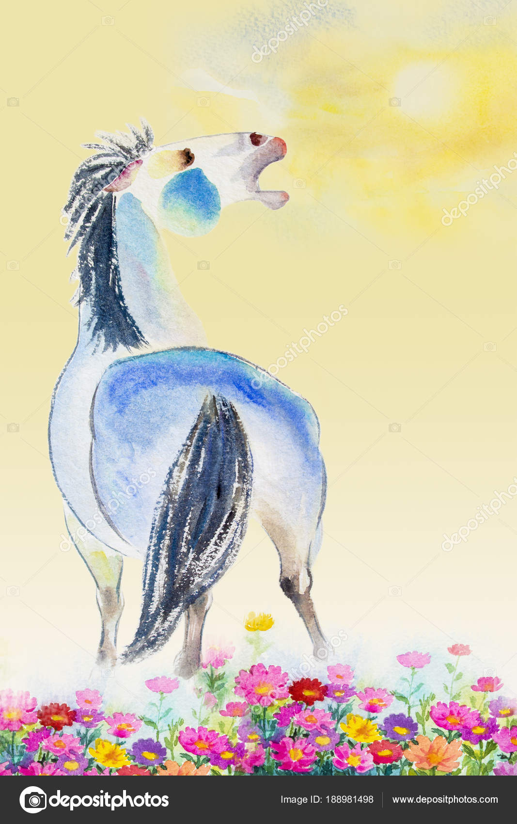 Horse Painting Colorful Watercolor Paintings Colorful Of One White Horse Stock Photo C Paint Mm 188981498