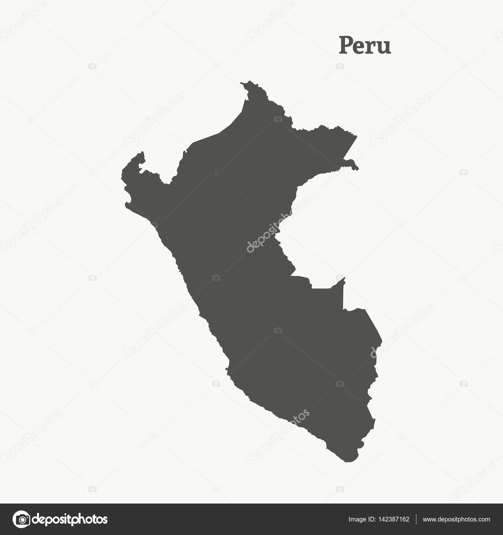 Peru Karte Umriss.Der Umriss Von Peru Vektor Illustration Stockvektor