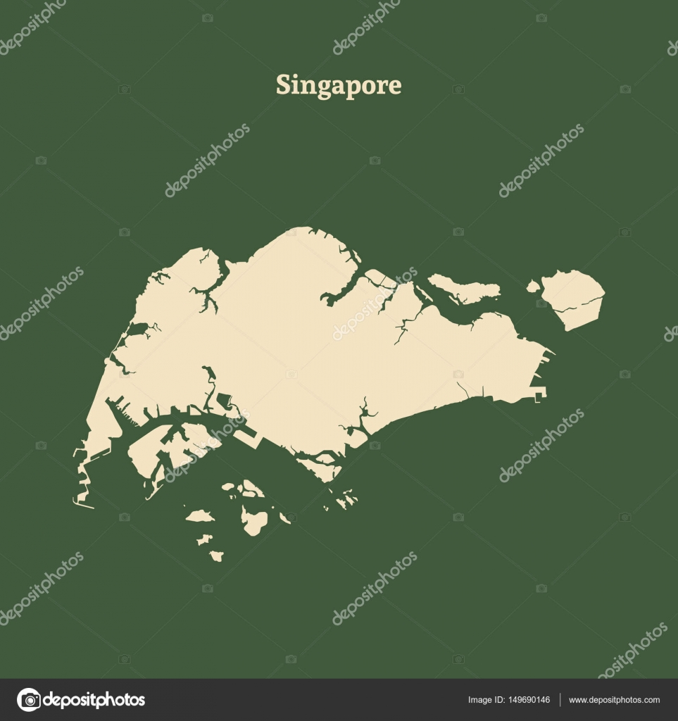 Outline map of Singapore. vector illustration. — Stock Vector ...