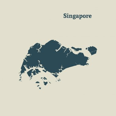 Outline map of Singapore. vector illustration.