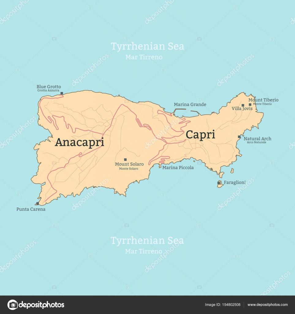 capri italia mapa Mapa de la isla de Capri, Italia, Campania — Archivo Imágenes  capri italia mapa