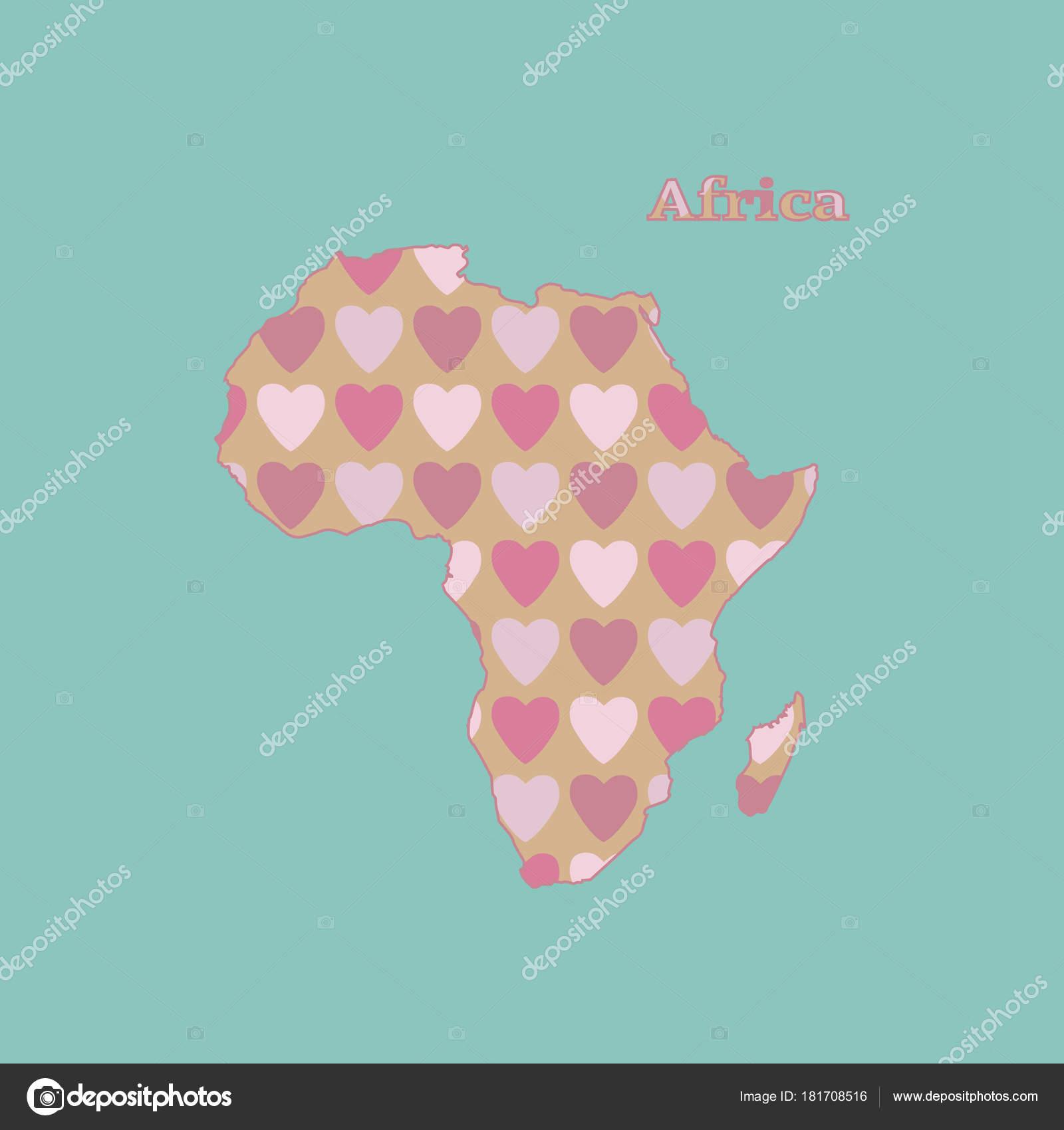 Cartina Fisica Muta Dell Africa.Cartina Muta Dell Africa Con Una Texture Di Cuore Rosa E