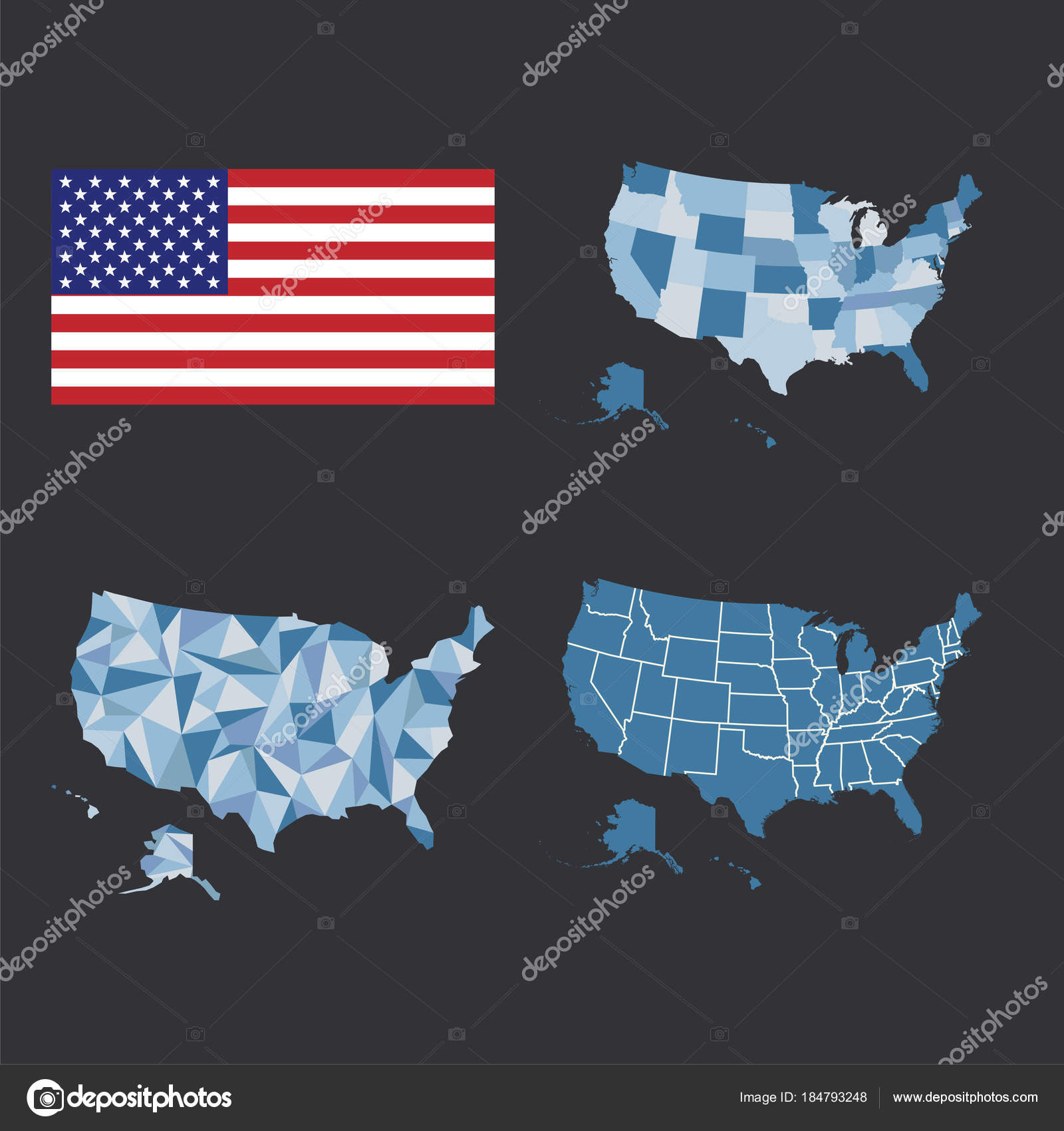 Outline map of the United States of America. States of the ...