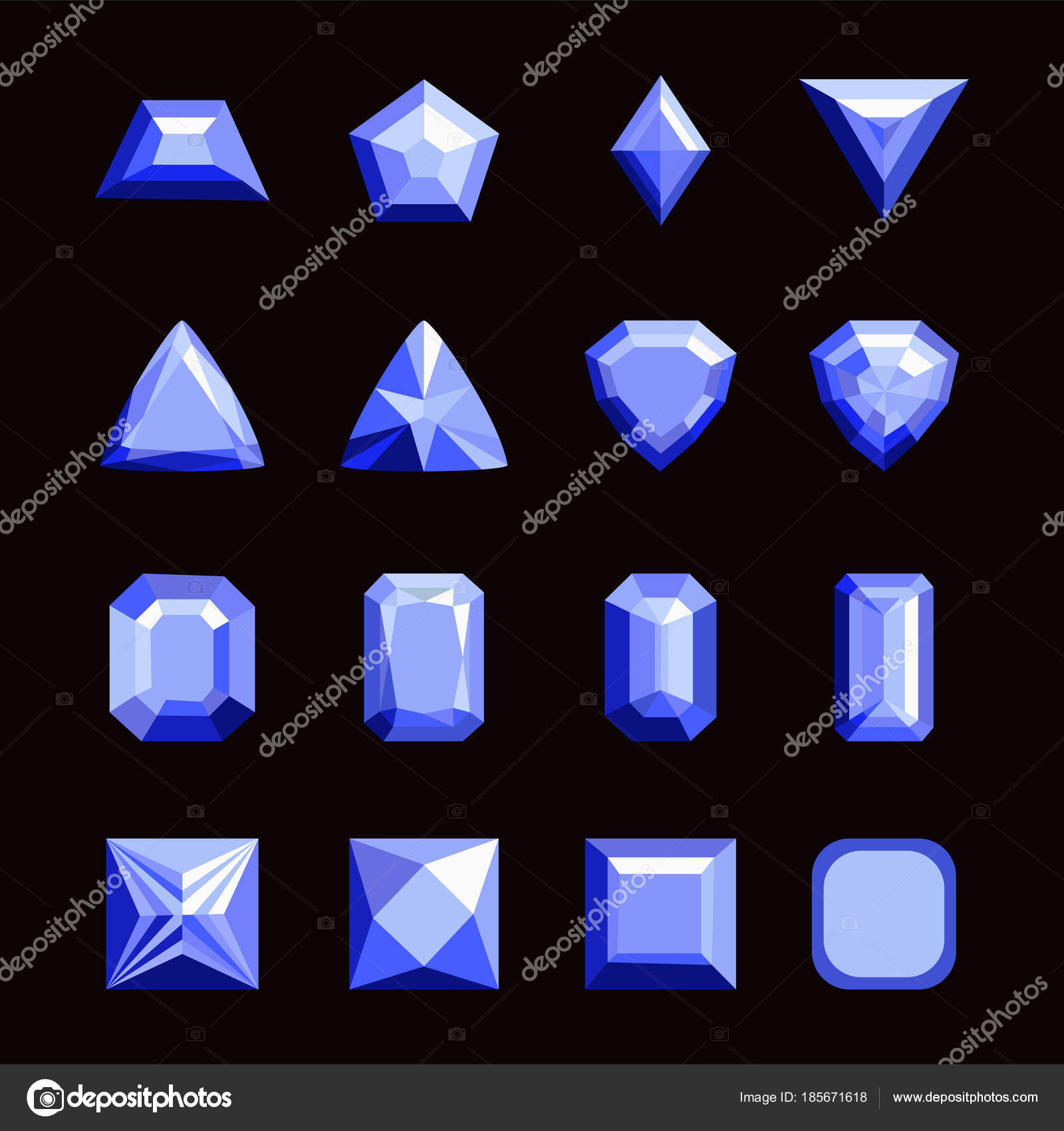 Collection of gems and gemstones. Types of diamond cutting. A se ...