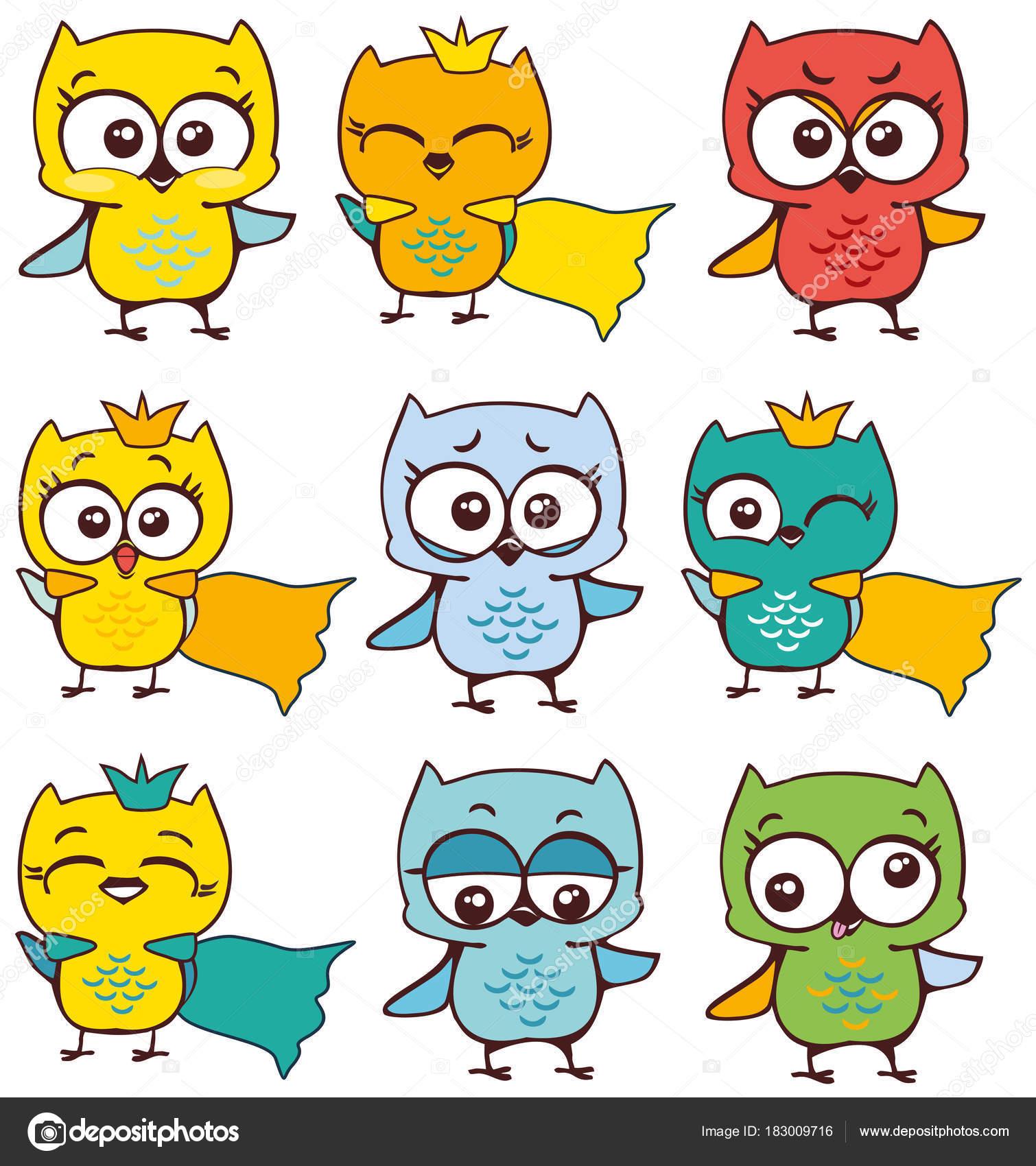 Vector Ilustración Dibujos Animados Multicolores Buhos Emoji Pintado