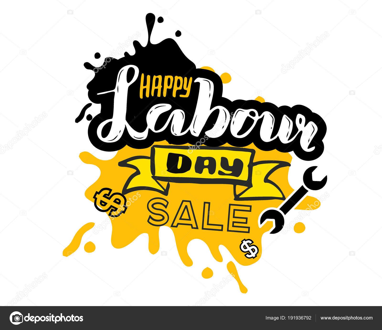 手レタリング幸せな労働者の日の販売 5 月 1 日メーデーのお祝いを