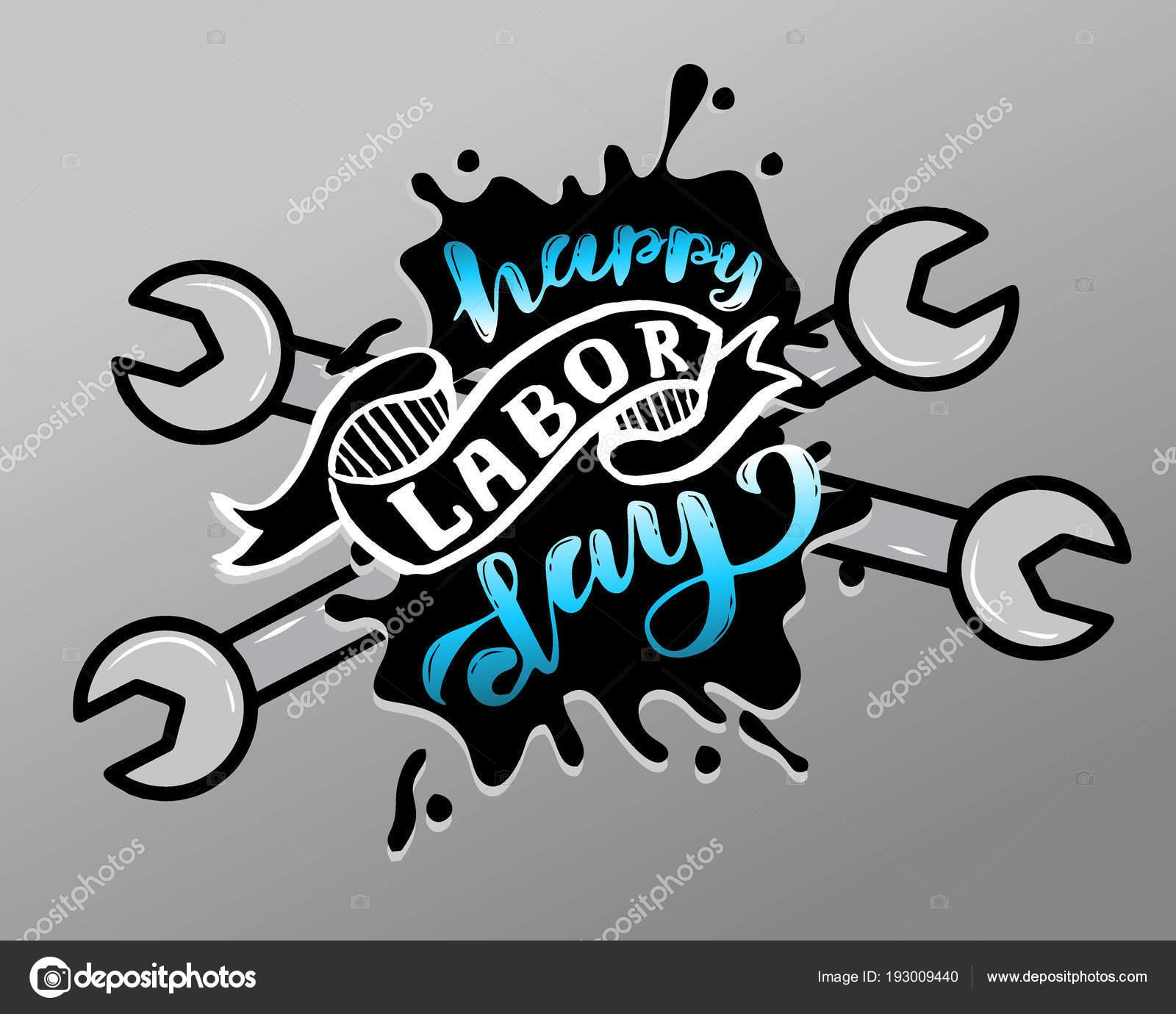 ハッピー労働者の日 5 月 1 日メーデーのお祝いをレタリング ベクトル