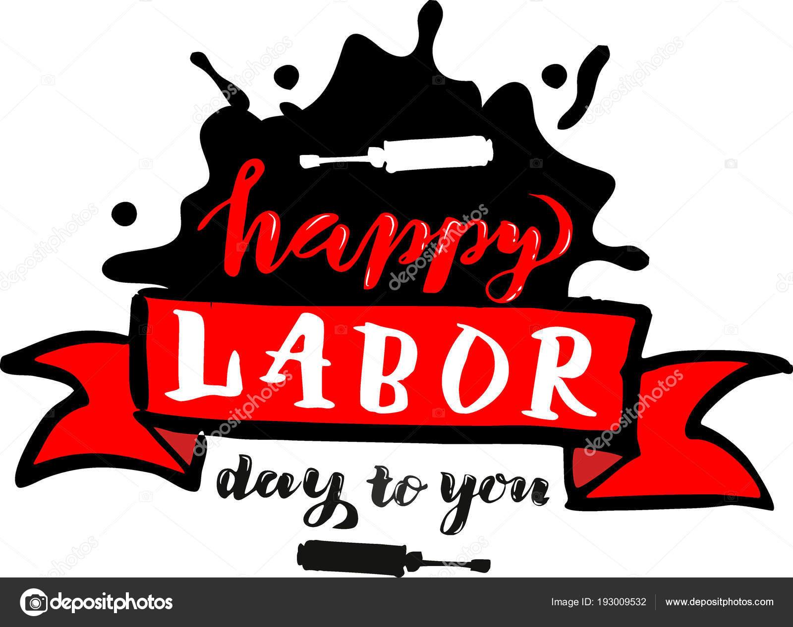 ベクトル手レタリング ハッピー労働者の日 5 月 1 日メーデーのお祝い