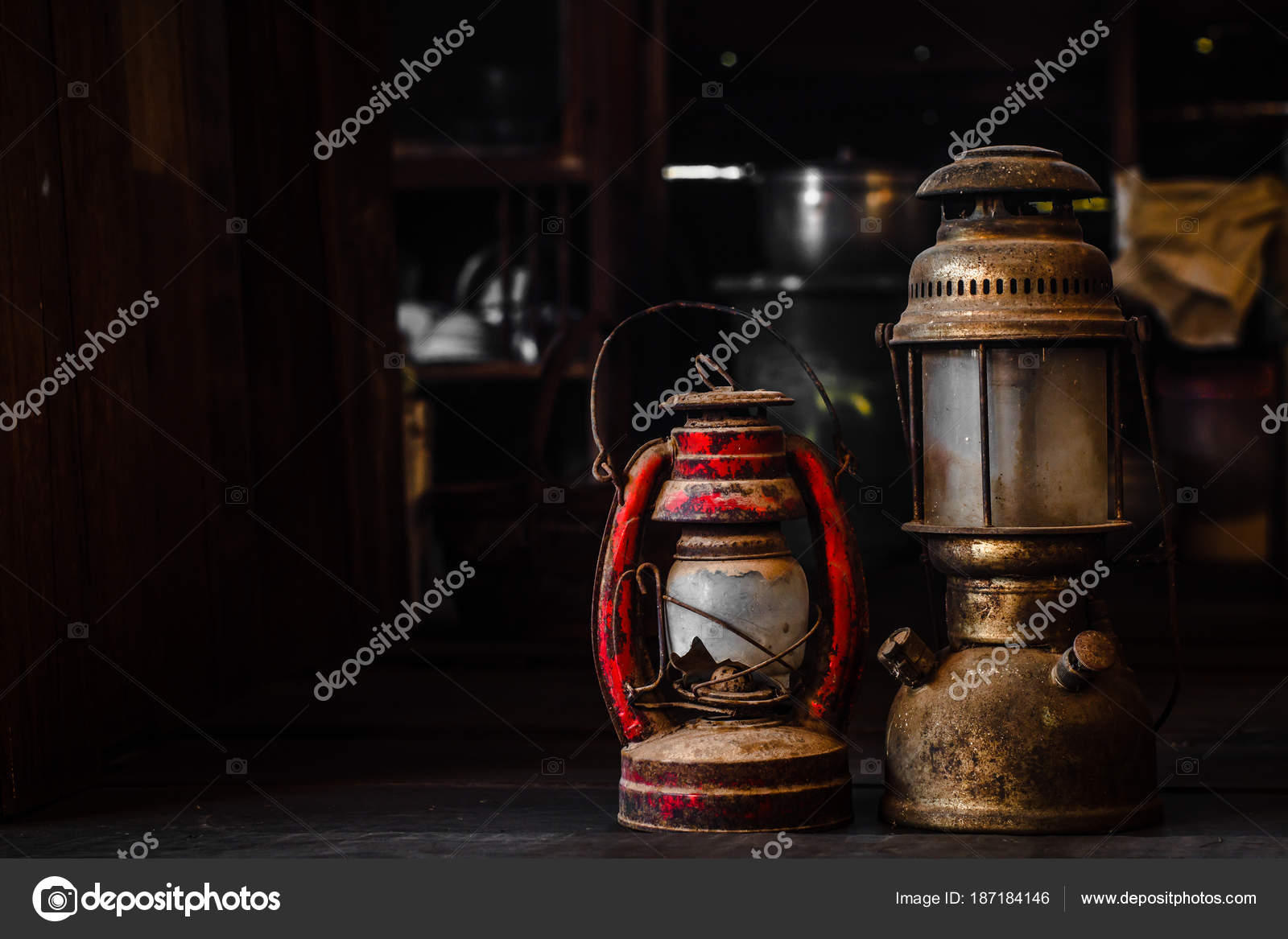 Old Fashioned Vintage Oil Lamp Old Fashioned Vintage Kerosene Oil Lantern Lamp Burning With A Soft Glow Light With Aged Wooden Floor With Copy Space Stock Photo C Yuthana Stock 187184146