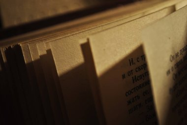 Book pages in the lamplight