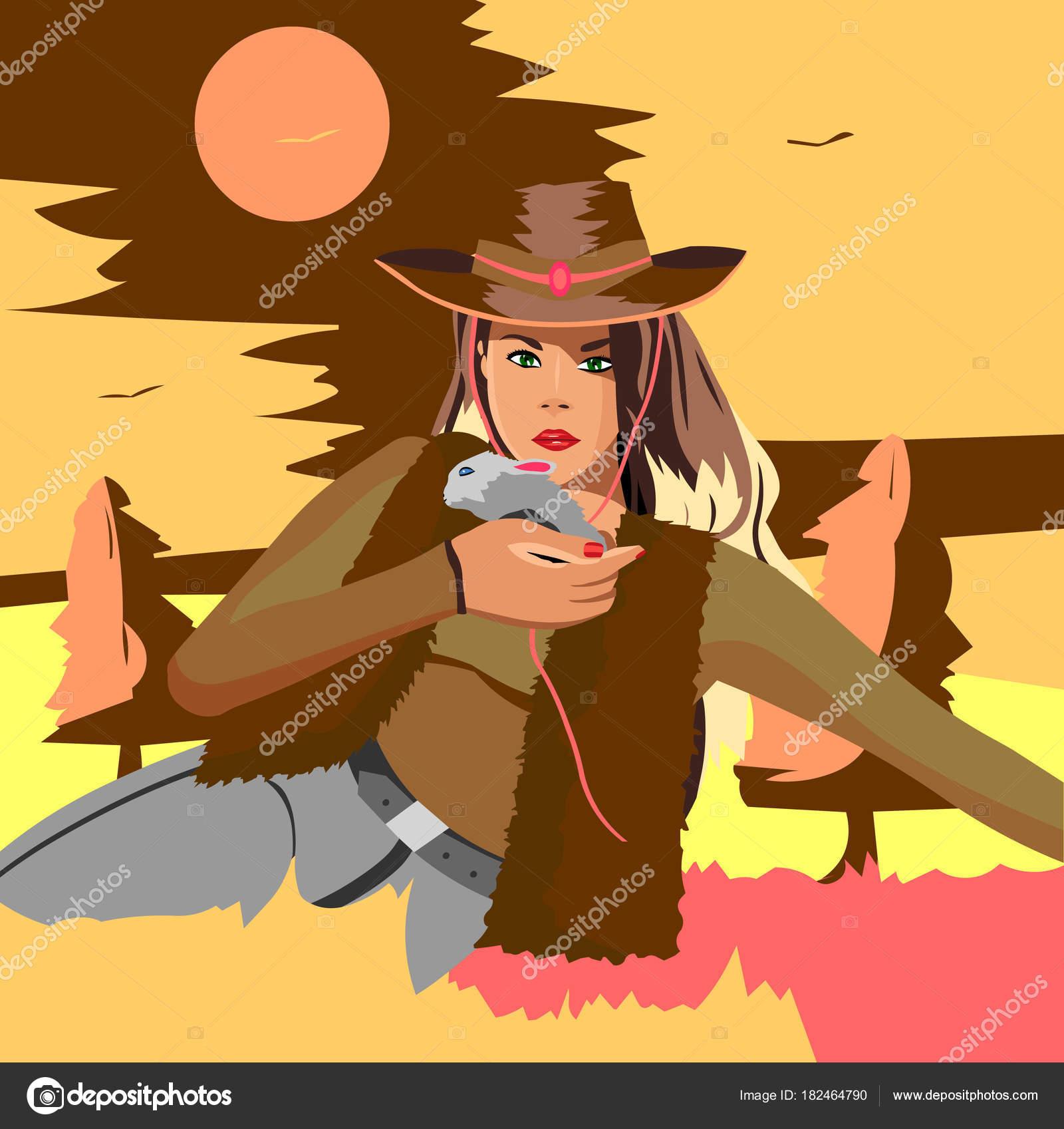 bec28eca9271b Linda Loira Com Chapéu Cowboy Sentado Caixa Segurando Coelho — Vetores de  Stock