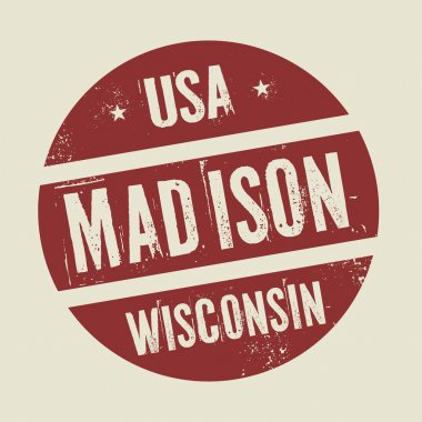 Grunge vintage round stamp with text Madison, Wisconsin