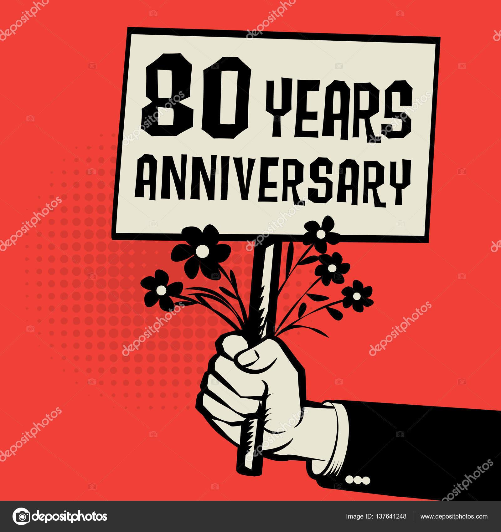 Poster In De Hand Bedrijfsconcept Met Tekst 80 Jaar Verjaardag