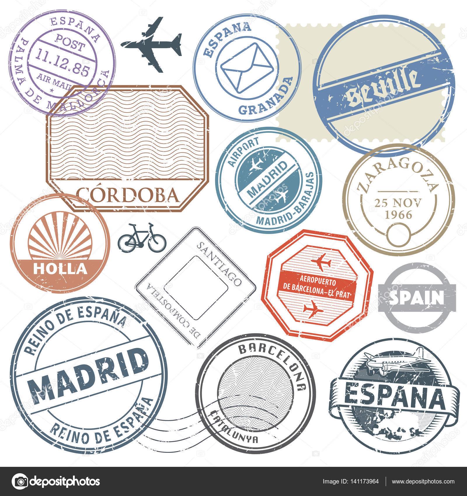 Travel Stamps Or Adventure Symbols Set Spain Theme Vector Illus