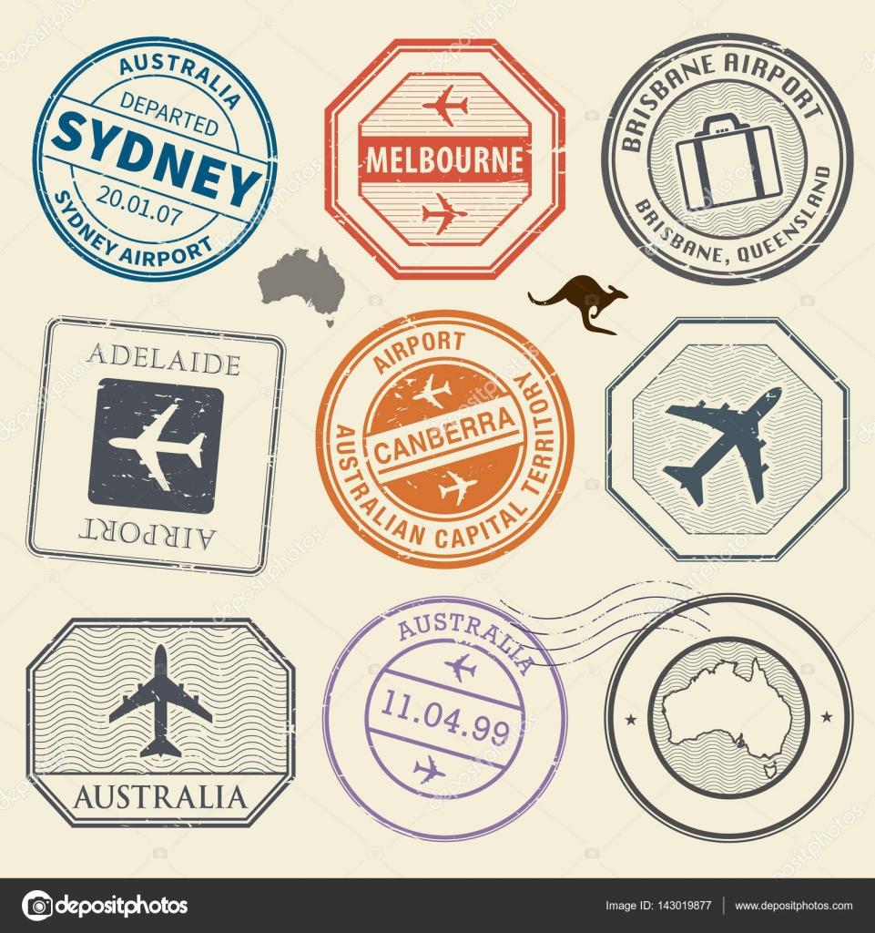 Travel stamps or adventure symbols set australia airport theme travel stamps or adventure symbols set australia airport theme stock vector biocorpaavc Choice Image