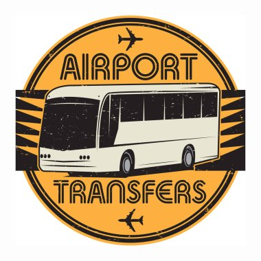Airport Transfers stamp or sign symbol