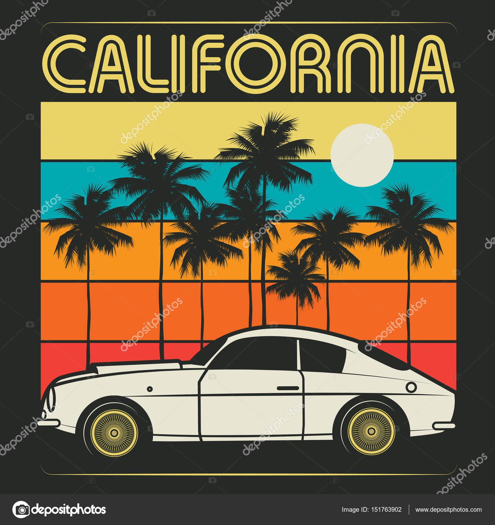 古いクラシックカー テキスト カリフォルニアのレトロなイラスト