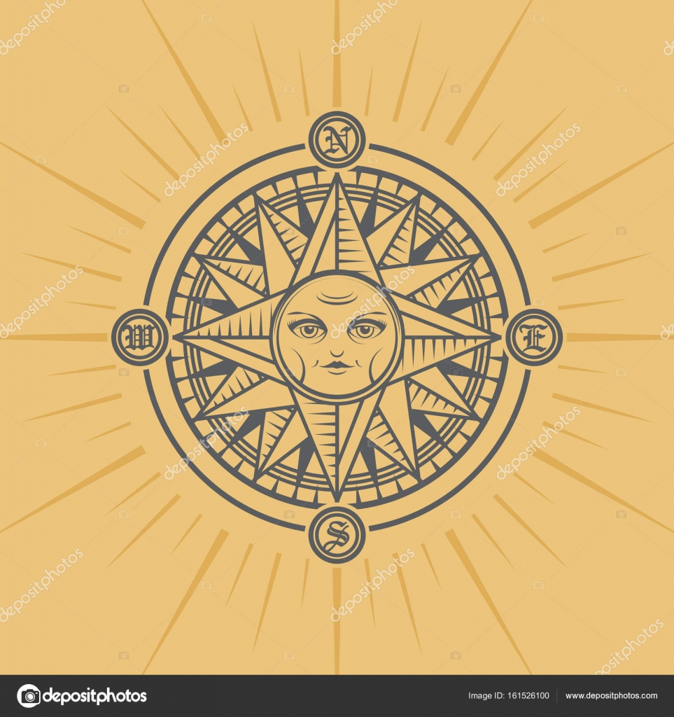 Vintage Sun Face Compass Rose Vector Illustration By Fla