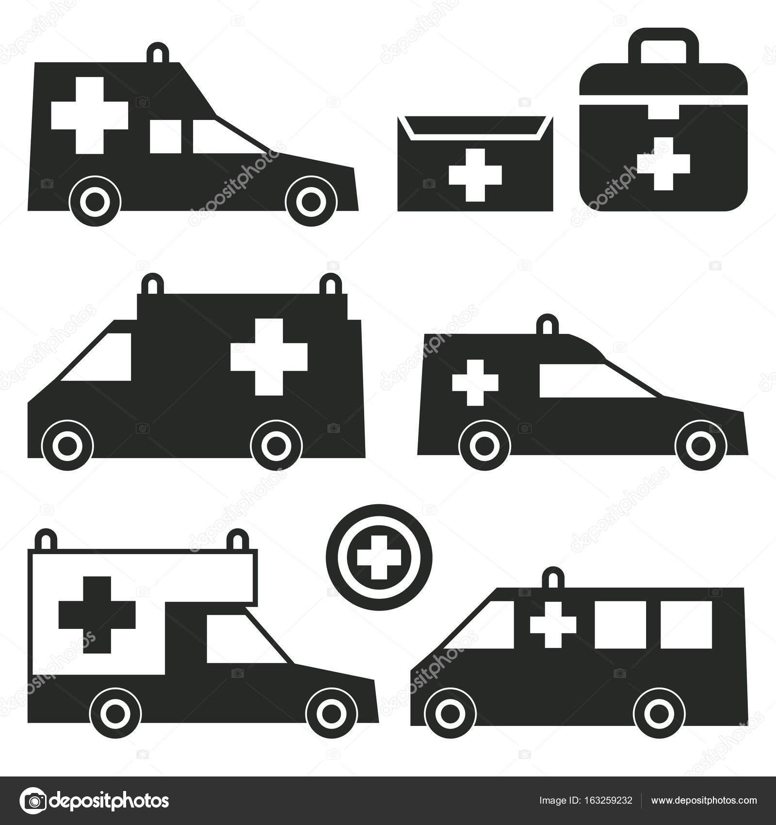 Ambulance Or Emergency Cars Signs Or Symbols Stock Vector Fla - Car signs and symbols