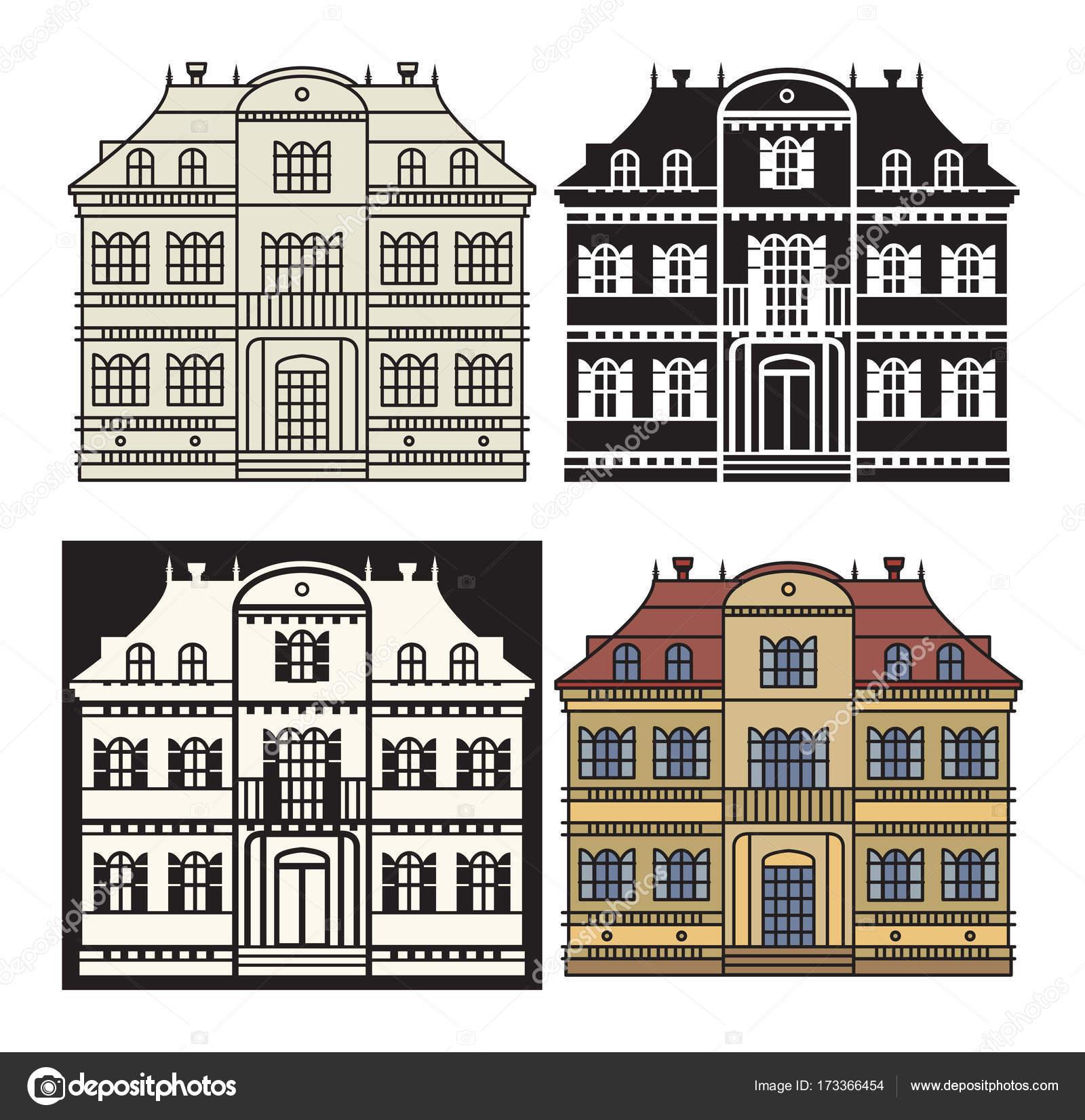 Wohnung Wohnhaus und detaillierte Haus außen — Stockvektor © _fla ...