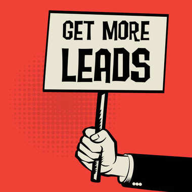 Poster in hand, business concept Get More Leads