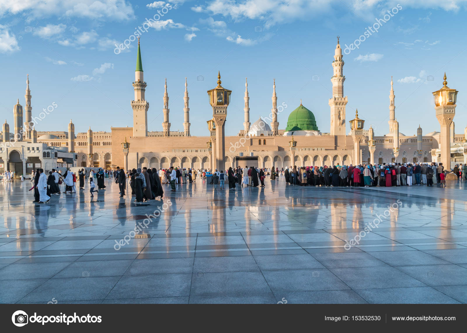 Muslims gathered for worship Nabawi Mosque, Medina, Saudi