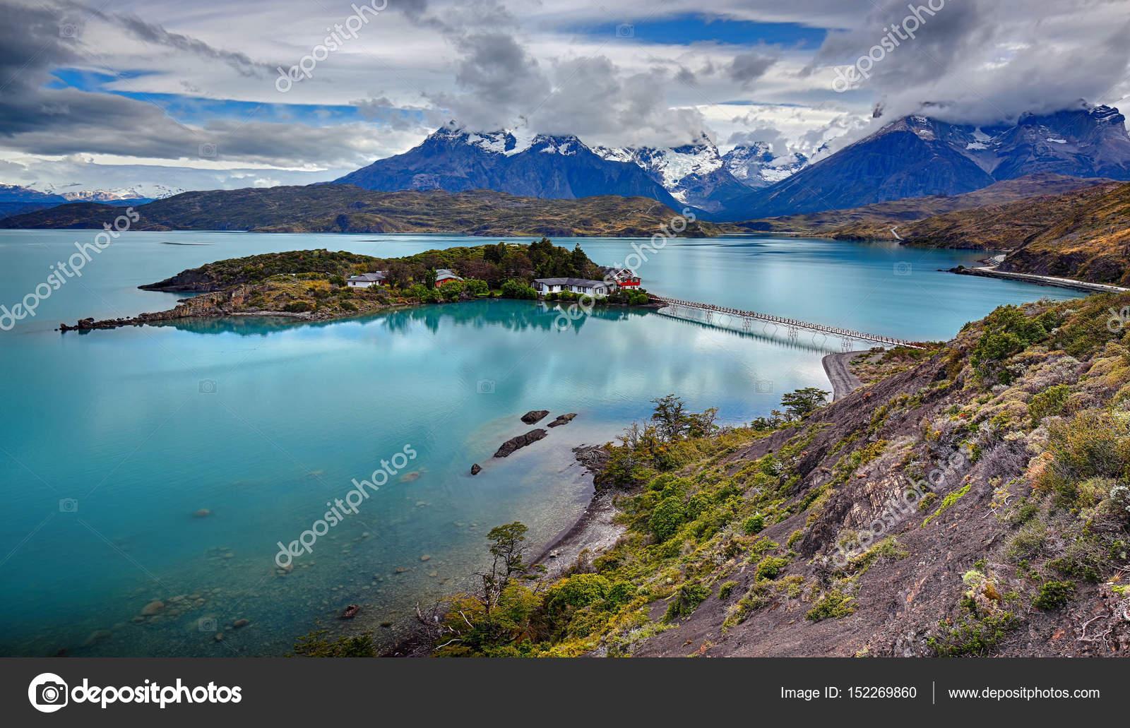 Lake Pehoe at Torres del Paine N P  (Patagonia, Chile