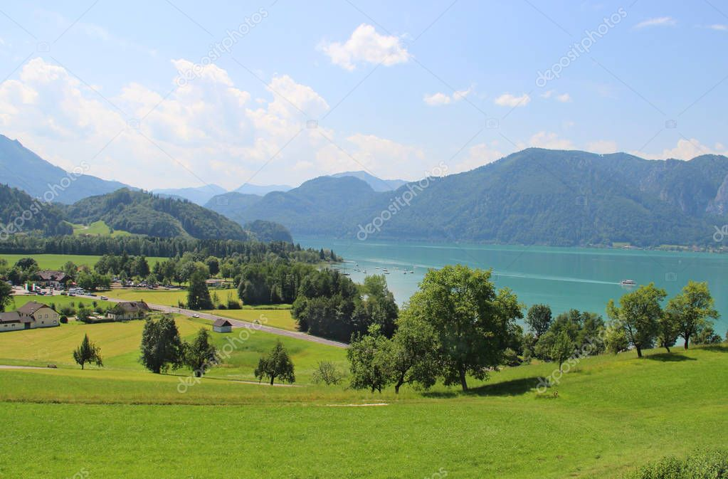 Amazing view of Mondsee and Alps, Austria