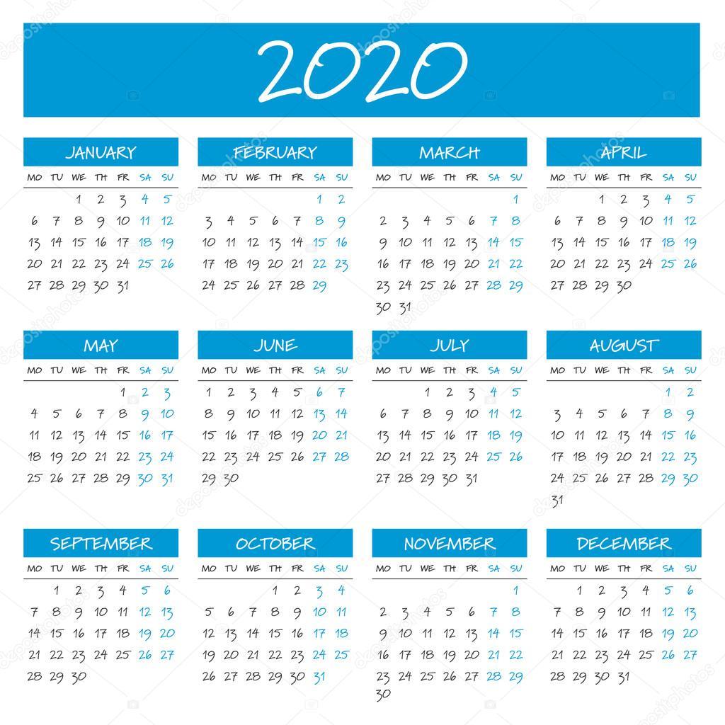Calendario Por Semanas 2020.Calendario Del Ano 2020 Simple Vector De Stock C 123sasha 127171736