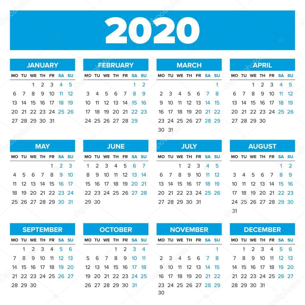 Calendario 2020 Vettoriale Gratis.Vettore Calendario 2020 Calendario Anno 2020 Semplice