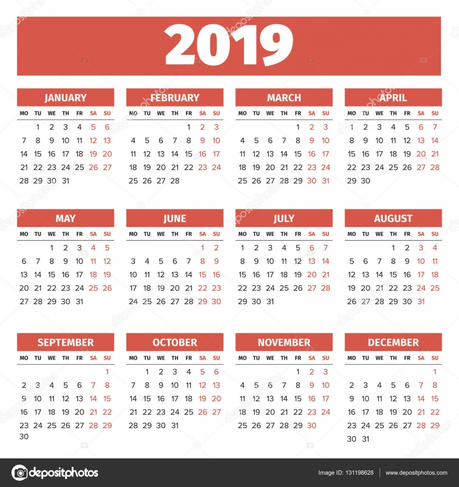 Calendar Template 2019 Stock Vector C 123sasha 131198628