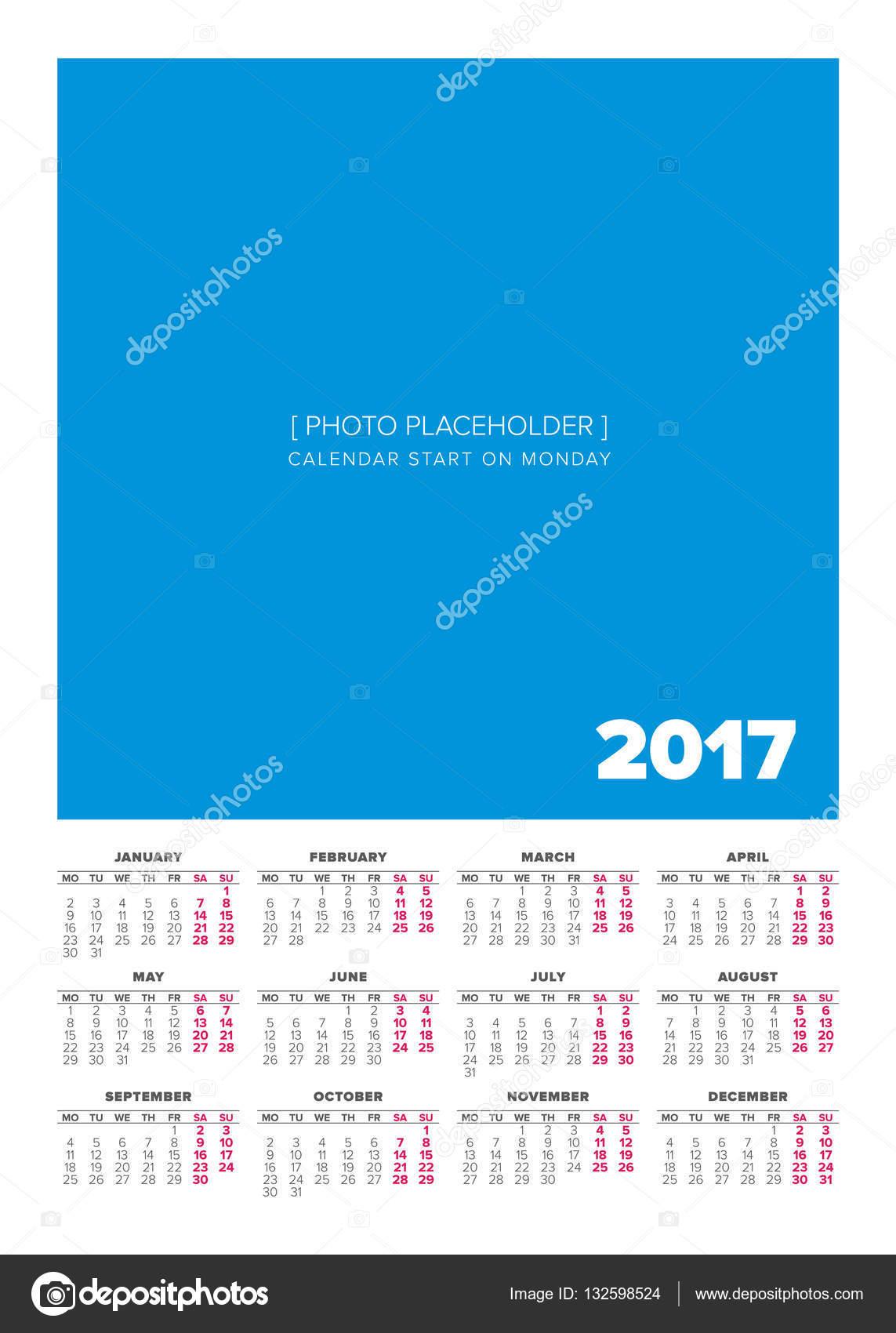 Calendario Anno 2017.Calendario Anno 2017 Semplice Vettoriali Stock C 123sasha