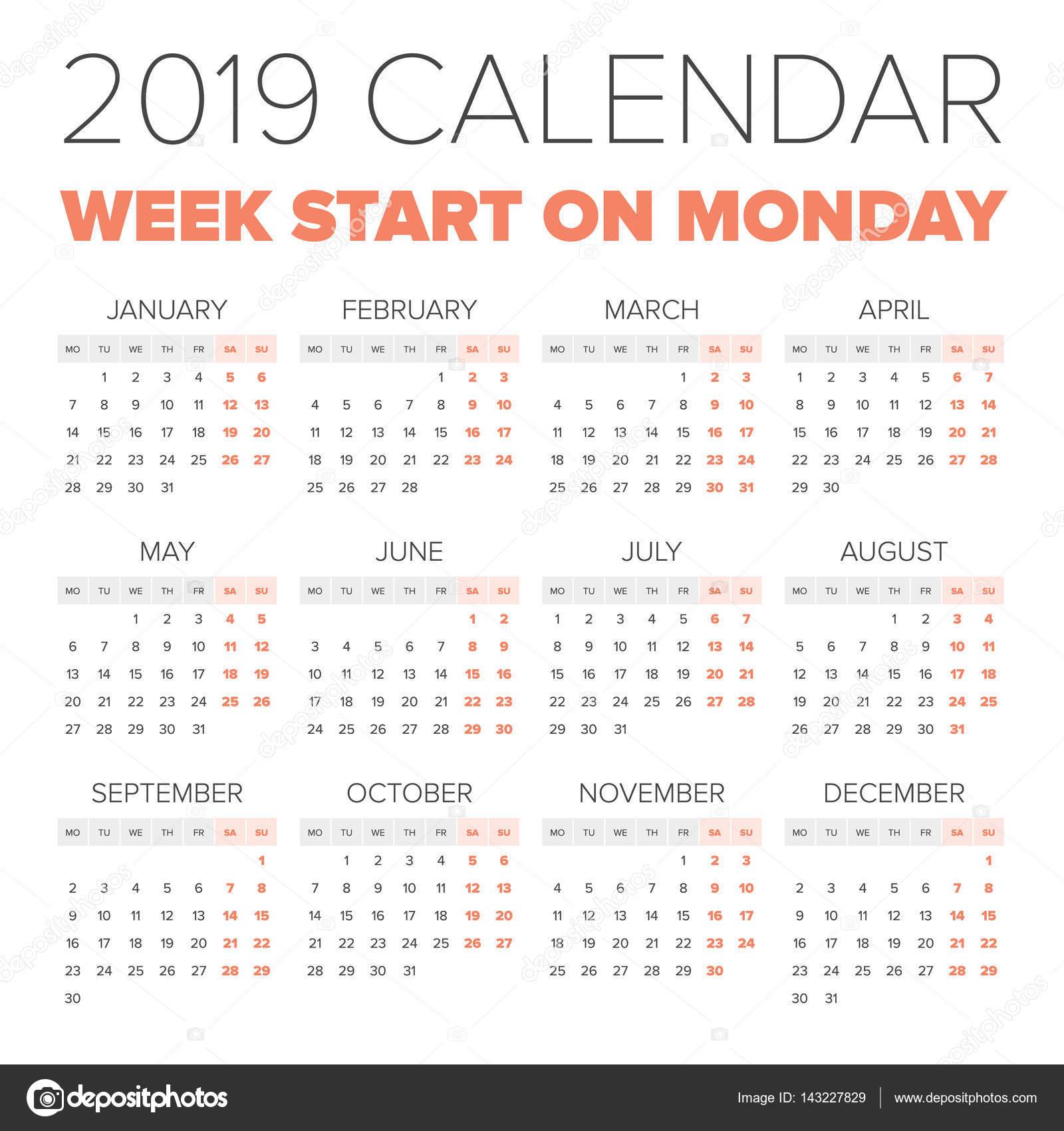 1 2019 calendar