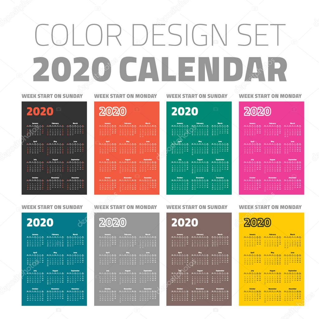 Calendario Tascabile Colore Imposta 2020
