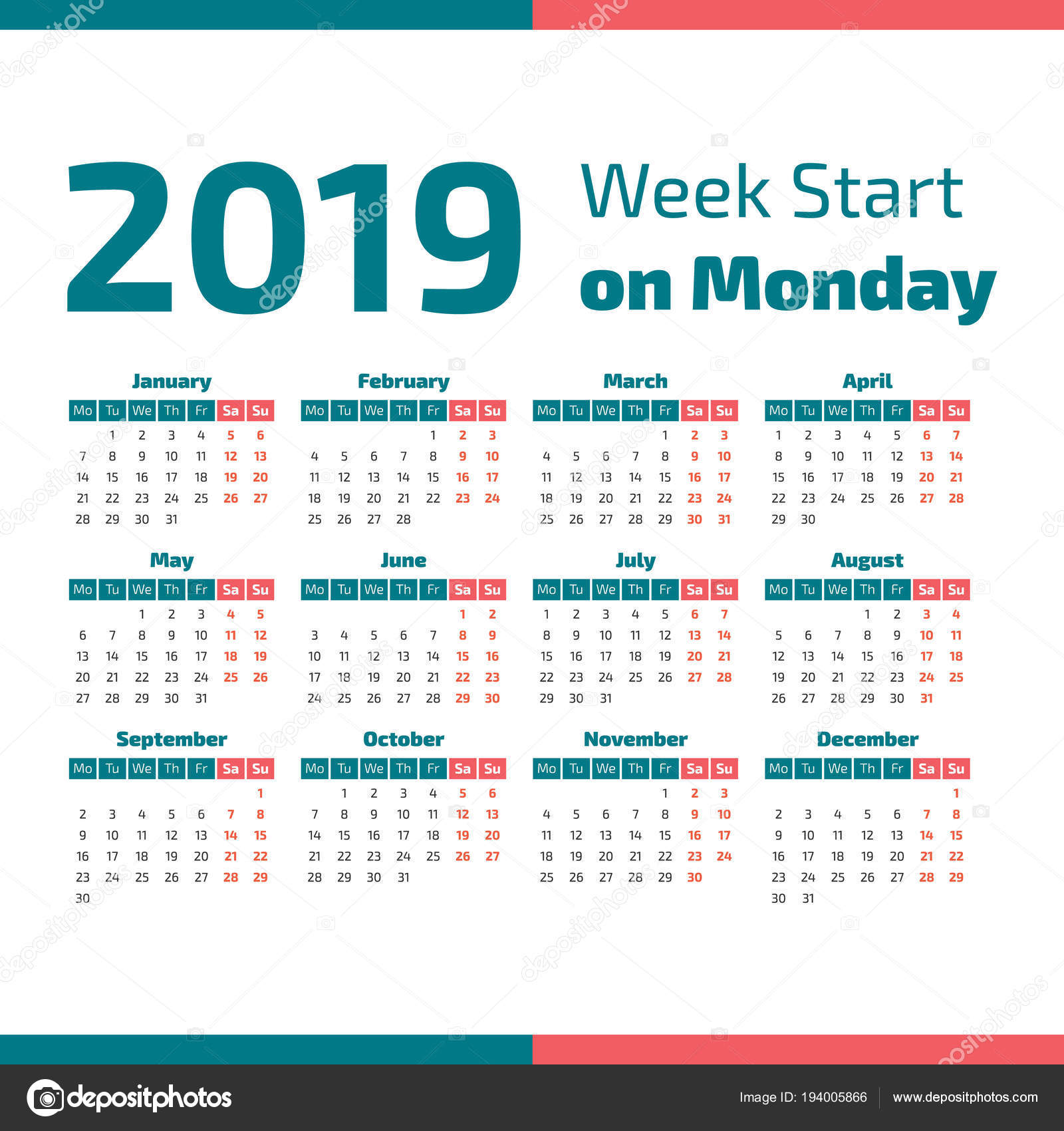 simple 2019 year calendar week starts on monday vector by 123sasha