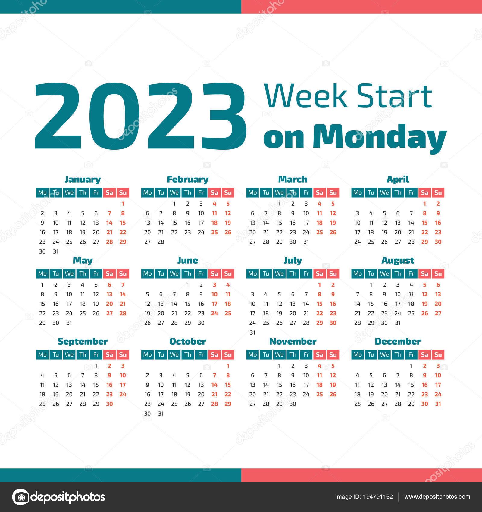 Календарь простой 2023 год, неделя начинается в понедельник — Вектор от ...