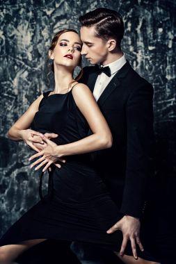 passionate embrace. Beautiful passionate dancers dancing tango.
