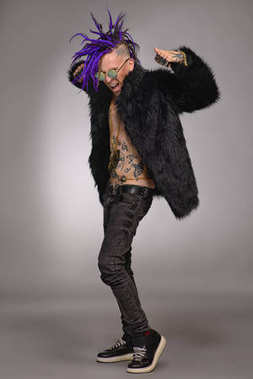 Punk with purple hair
