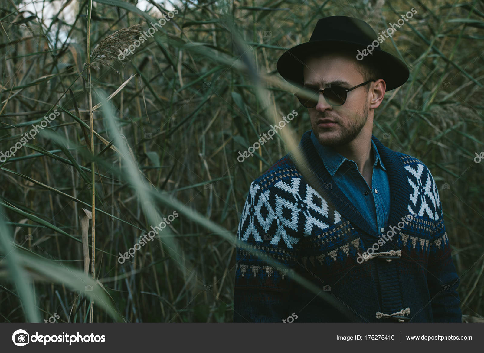 Portrait of a handsome man wearing cardigan and hat standing outdoor over  autumn nature background. 648eedf82099