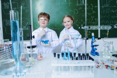learned children in laboratory