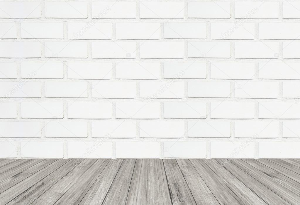 White Brick Wall Texture Background With Wooden Floor Stock Photo Image By Sexlim 127811790