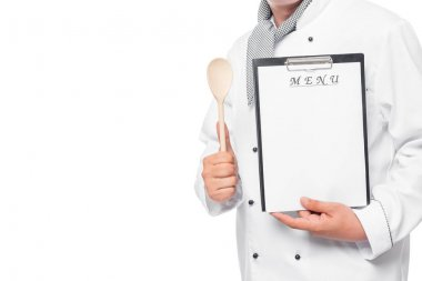 close-up menu for the label in the hands of a professional chef