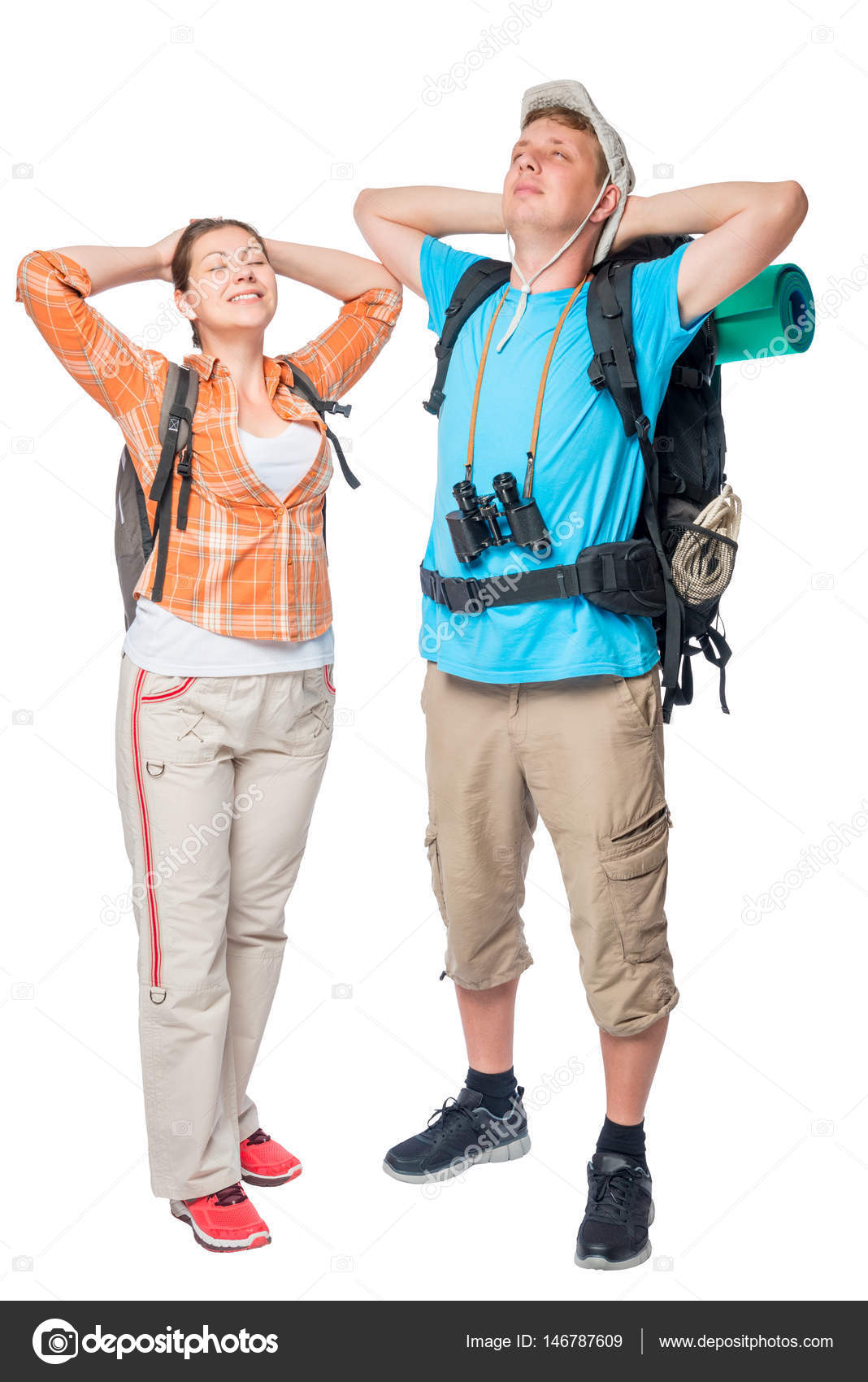 Relaxing couple of tourists with backpacks on a white background — Stock  Photo 0990599bbbbe5