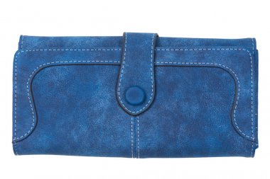 blue female wallet close-up on a white background