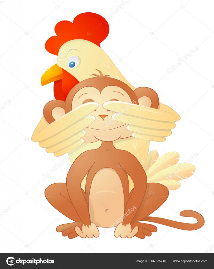Rooster And Monkey As Chinese Zodiac Symbols Stock Vector Akvlv